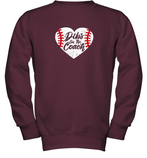vdw2 dibs on the coach funny baseball youth sweatshirt 47 front maroon