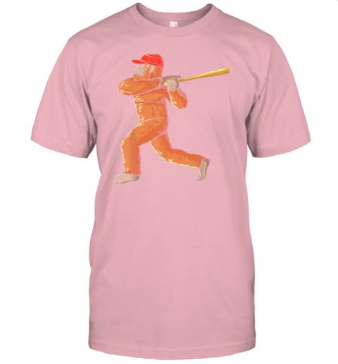 dtdx bigfoot baseball sasquatch playing baseball player jersey t shirt 60 front pink