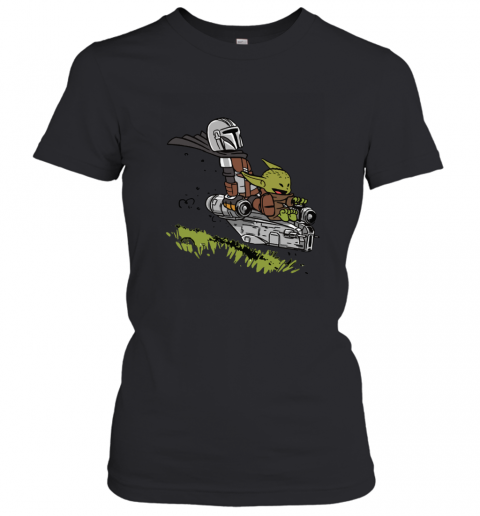 Baby Yoda And Mandalorian Calvin And Hobbes Women's T-Shirt
