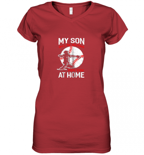 hnek my son will be waiting for you at home baseball dad mom women v neck t shirt 39 front red