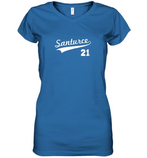 mxgk vintage santurce 21 puerto rico baseball women v neck t shirt 39 front royal