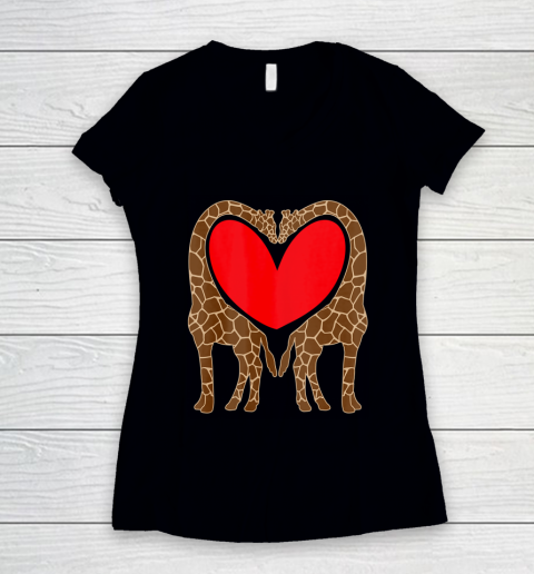Cute Giraffe TShirt Fun Valentine Gift for Giraffe Lovers Women's V-Neck T-Shirt