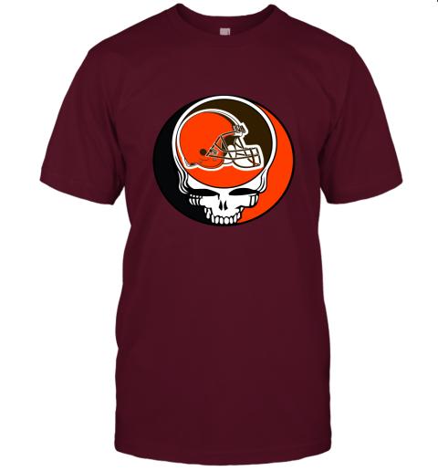 kdsp nfl team cleveland browns x grateful dead logo band jersey t shirt 60 front maroon