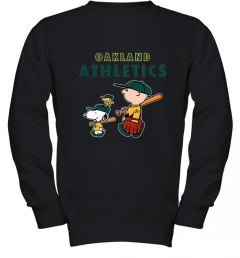 nwkq oakland athletics lets play baseball together snoopy mlb youth sweatshirt 47 front black