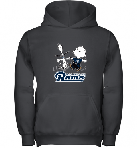 Snoopy And Charlie Brown Happy Los Angeles Rams Youth Hoodie