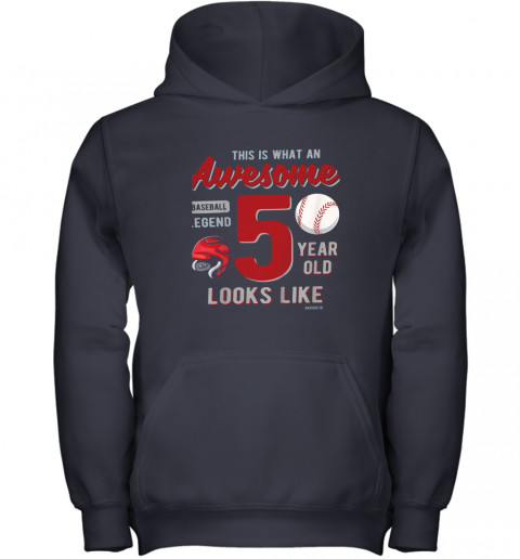 fuxn kids 5th birthday gift awesome 5 year old baseball legend youth hoodie 43 front navy