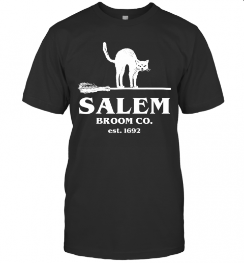 Salem Broom Co Company Halloween Black Cat Witch and Broom T-Shirt