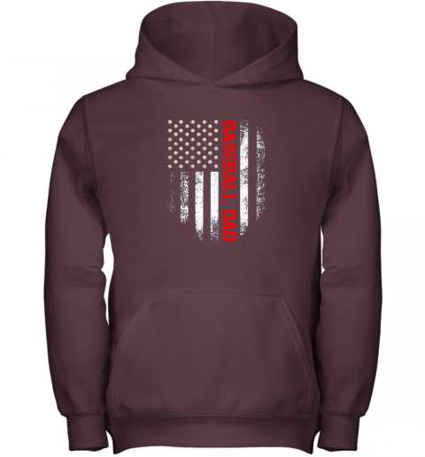 rm5n vintage usa american flag proud baseball dad player youth hoodie 43 front maroon
