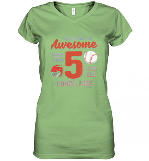 56jp kids 5th birthday gift awesome 5 year old baseball legend women v neck t shirt 39 front lime