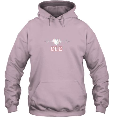 tkbz cleveland baseball shirt cleveland ohio heart beat cle hoodie 23 front light pink