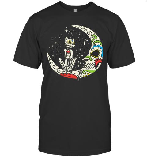 Sugar Skull Cat Moon Dia De Los Muertos Halloween Costume T-Shirt