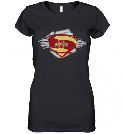 Blood Insides Superman Iowa State Cyclones Football Women's V-Neck T-Shirt
