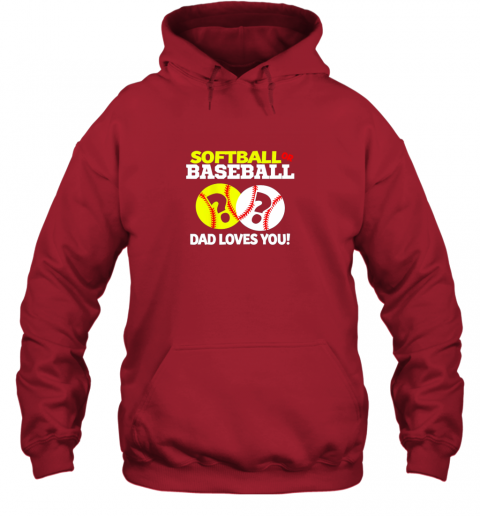 4j40 softball or baseball dad loves you gender reveal hoodie 23 front red