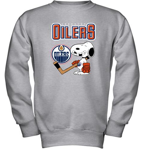 e2k4 edmonton oilers ice hockey broken teeth snoopy nhl shirt youth sweatshirt 47 front sport grey
