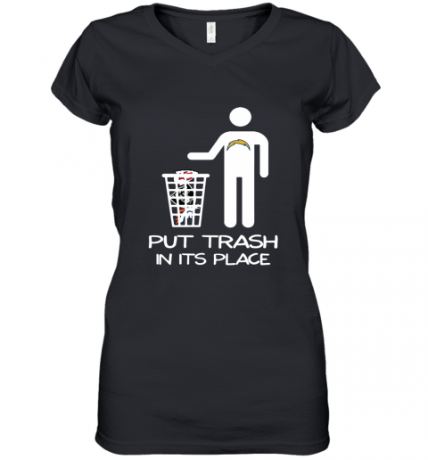Los Angeles Chargers Put Trash In Its Place Women's V-Neck T-Shirt
