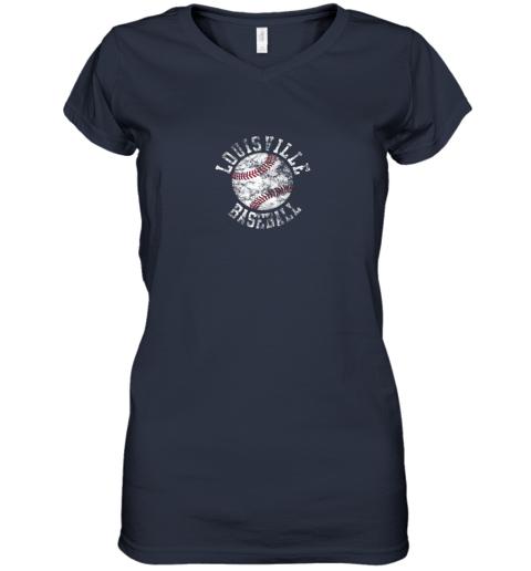 gtnk vintage louisville baseball women v neck t shirt 39 front navy