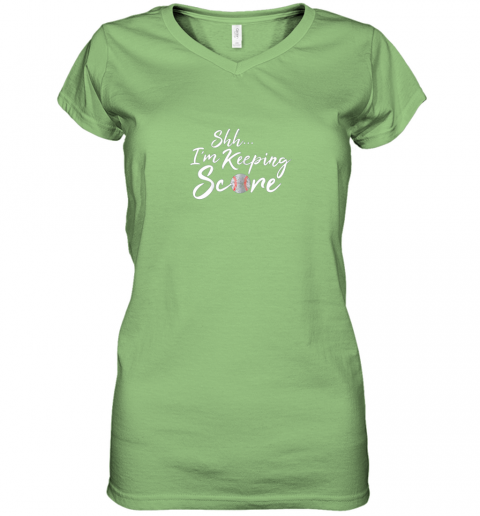 kcc8 scorekeeper gift funny baseball team score book keeper women v neck t shirt 39 front lime