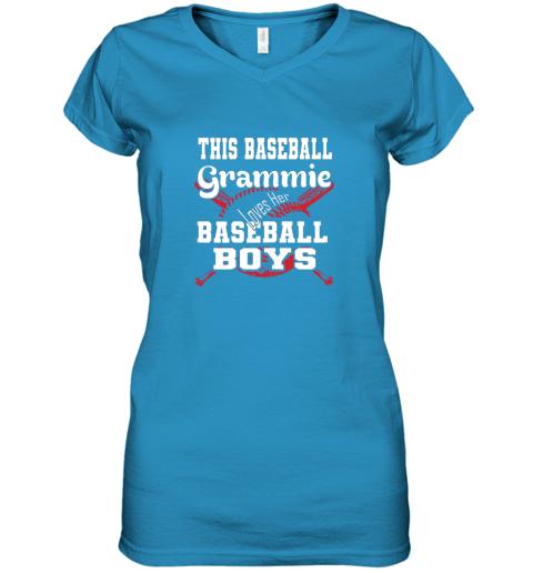 mlmy this baseball grammie loves her baseball boys women v neck t shirt 39 front sapphire