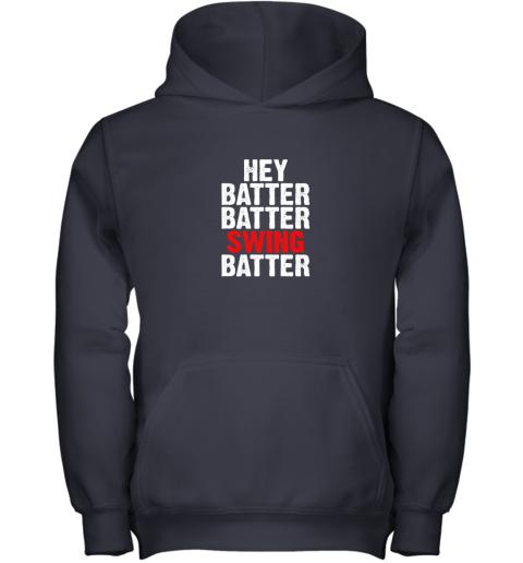 9k4w hey batter batter swing batter funny baseball youth hoodie 43 front navy