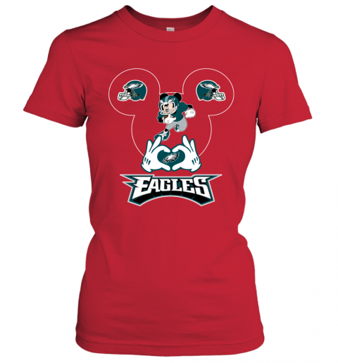 jhmm i love the eagles mickey mouse philadelphia eagles ladies t shirt 20 front red