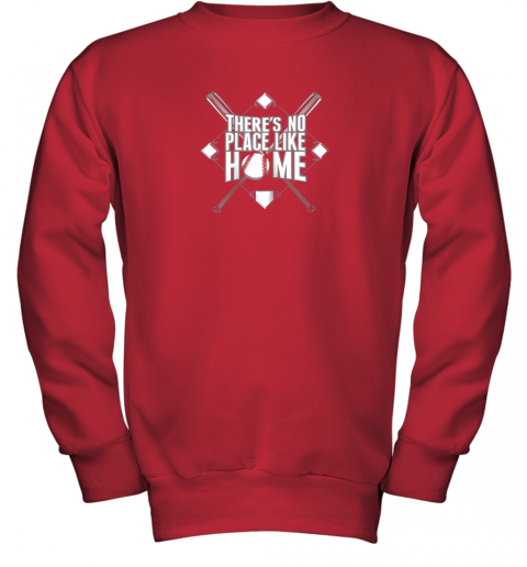 2wsq there39 s no place like home baseball tshirt mom dad youth youth sweatshirt 47 front red