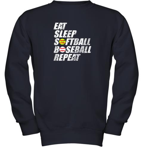 ypmz softball baseball repeat shirt cool cute gift ball mom dad youth sweatshirt 47 front navy