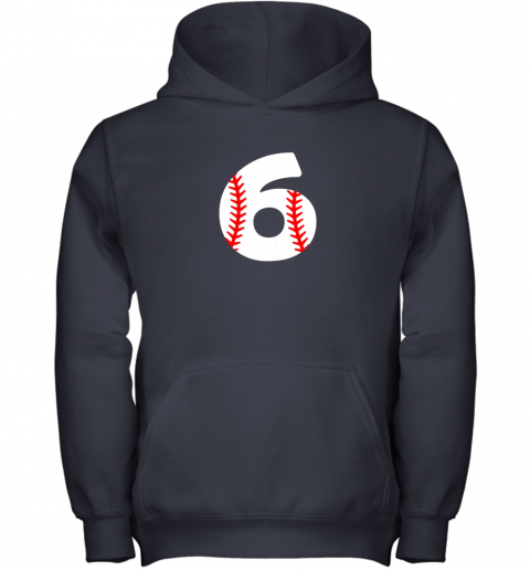 zajz sixth birthday 6th baseball shirtnumber 6 born in 2013 youth hoodie 43 front navy