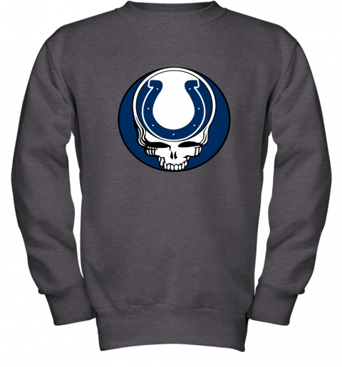 7zp8 nfl team indianapolis colts x grateful dead logo band youth sweatshirt 47 front dark heather