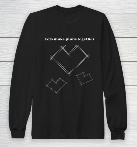 Valentine Architect T Shirt Heart Architecture Student Long Sleeve T-Shirt