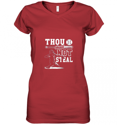 gx5y funny baseball thou shall not steal baseball player women v neck t shirt 39 front red