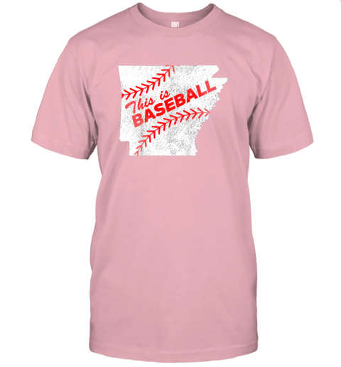 ks3o this is baseball arkansas with red laces jersey t shirt 60 front pink