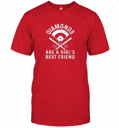 3tsp diamonds are a girl39 s best friend baseball jersey t shirt 60 front red