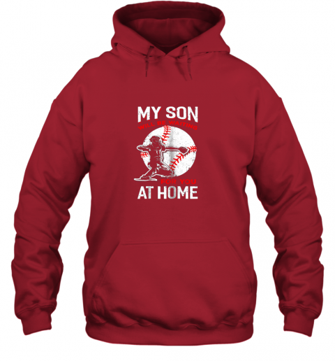 vwco my son will be waiting for you at home baseball dad mom hoodie 23 front red