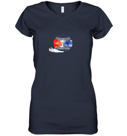 o9xf vintage baseball cuba flag shirt cuban pride women v neck t shirt 39 front navy