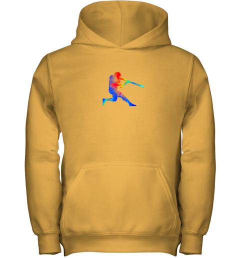vjvp tie dye baseball batter shirt retro player coach boys gifts youth hoodie 43 front gold