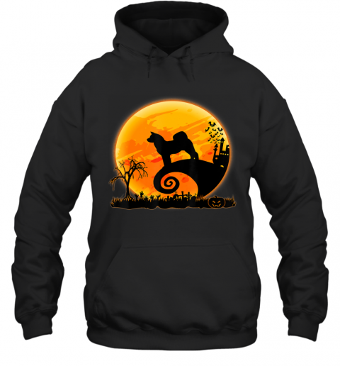 Akita Inu Dog Shirt And Moon Funny Halloween Costume Gift Hoodie