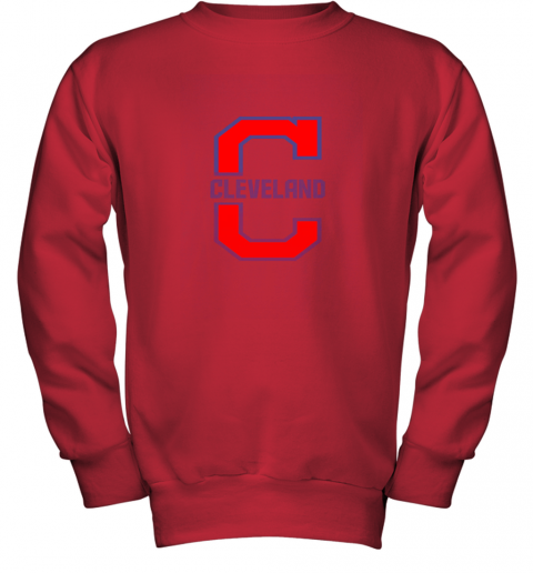 9lle cleveland hometown indian tribe vintage for baseball fans youth sweatshirt 47 front red