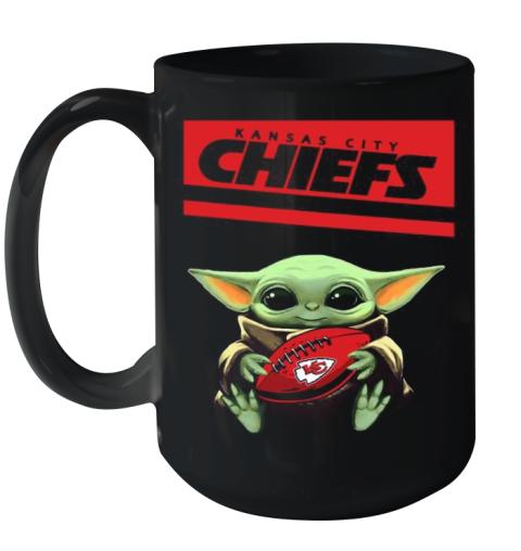Baby Yoda Hug Kansas City Chiefs Football Logo Ceramic Mug 15oz