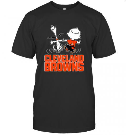 Snoopy And Charlie Brown Happy Cleveland Browns T-Shirt