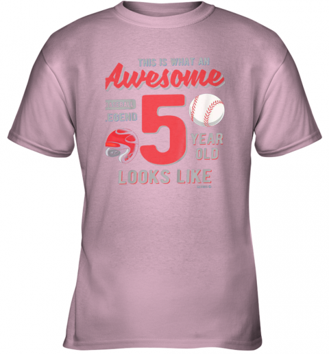 0yej kids 5th birthday gift awesome 5 year old baseball legend youth t shirt 26 front light pink