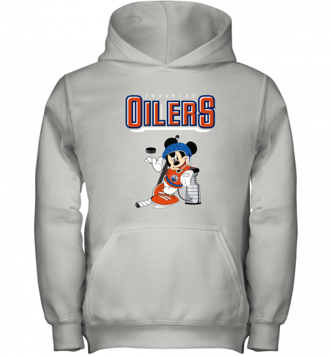 stsk mickey edmonton oilers with the stanley cup hockey nhl shirt youth hoodie 43 front white