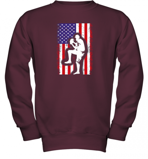 nwzu vintage usa american flag baseball player team gift youth sweatshirt 47 front maroon