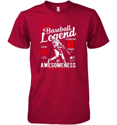 k5p6 kids 8th birthday gift baseball legend 8 years premium guys tee 5 front red