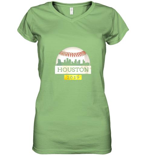 iv9q houston baseball shirt 2019 astro skyline on giant ball women v neck t shirt 39 front lime