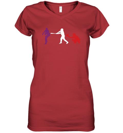 ruhf baseball usa flag american tradition spirit women v neck t shirt 39 front red