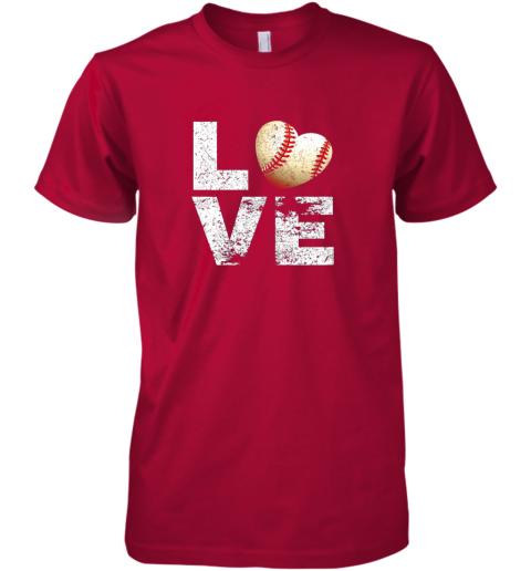 lkon i love baseball funny gift for baseball fans lovers premium guys tee 5 front red