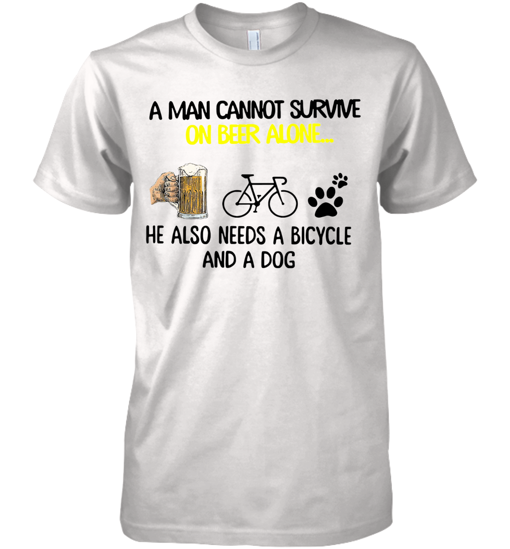 A Man Cannot Survive On Beer Alone He Also Needs Cycling And A Dog shirt Premium Men's T-Shirt