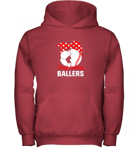 cwlg busy raising a ballerfunny baseball soccer mom youth hoodie 43 front red