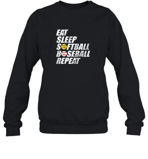 Softball Baseball Repeat Shirt Cool Cute Gift Ball Mom Dad Sweatshirt