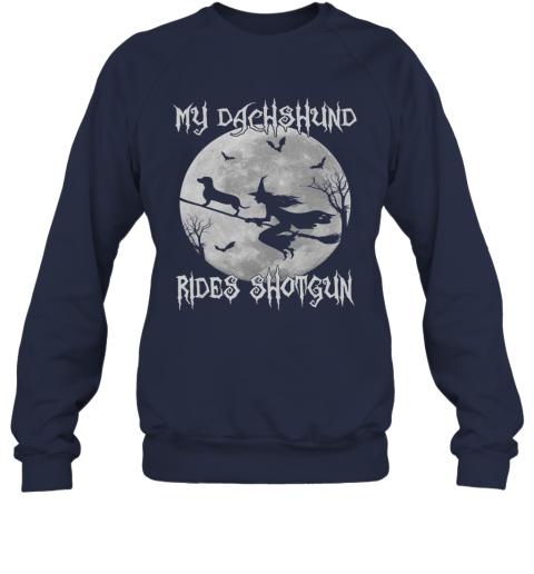 My dachshund Rides Shotgun Halloween dachshund dog lover Sweatshirt